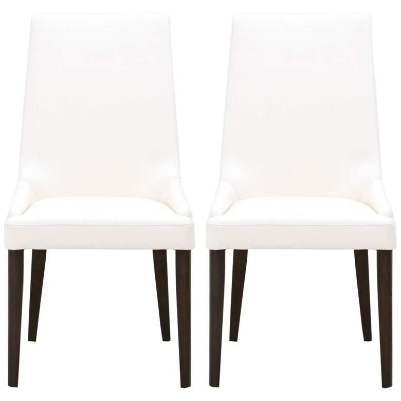 Aurora Alabaster Leather Dark Wenge Dining Chairs Set of 2