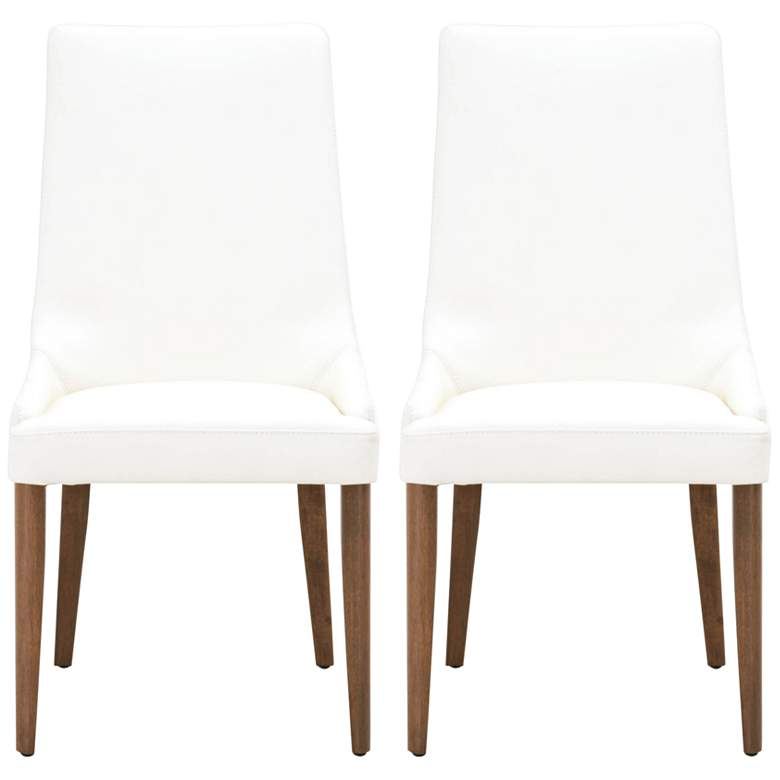 Aurora Alabaster Leather Walnut Wood Dining Chairs Set of 2
