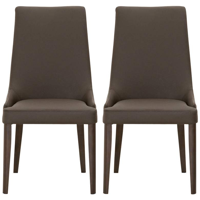 Aurora Dark Umber Leather and Walnut Dining Chairs Set of 2