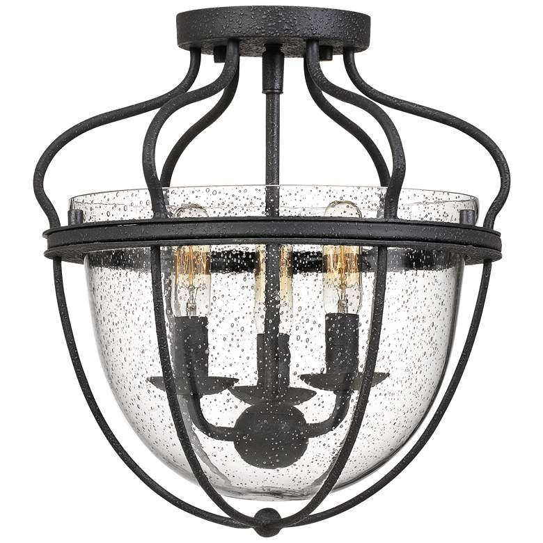 """Quoizel Colony 12 1/2"""" Wide Gray Ash 3-Light Ceiling Light"""