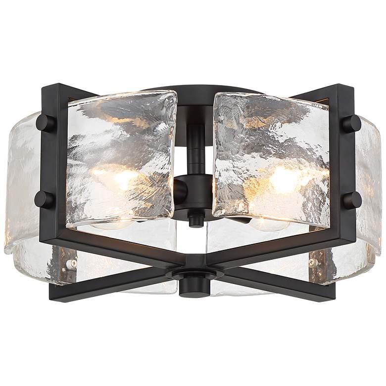 "Possini Euro Adri 16 1/2""W Black and Glass Ceiling Light"