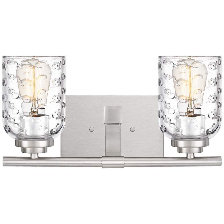 "Quoizel Cristal 7 1/4""H Brushed Nickel 2-Light Wall Sconce"