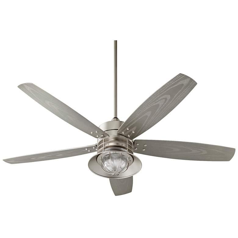 "60"" Quorum Portico Satin Nickel Patio Ceiling Fan"