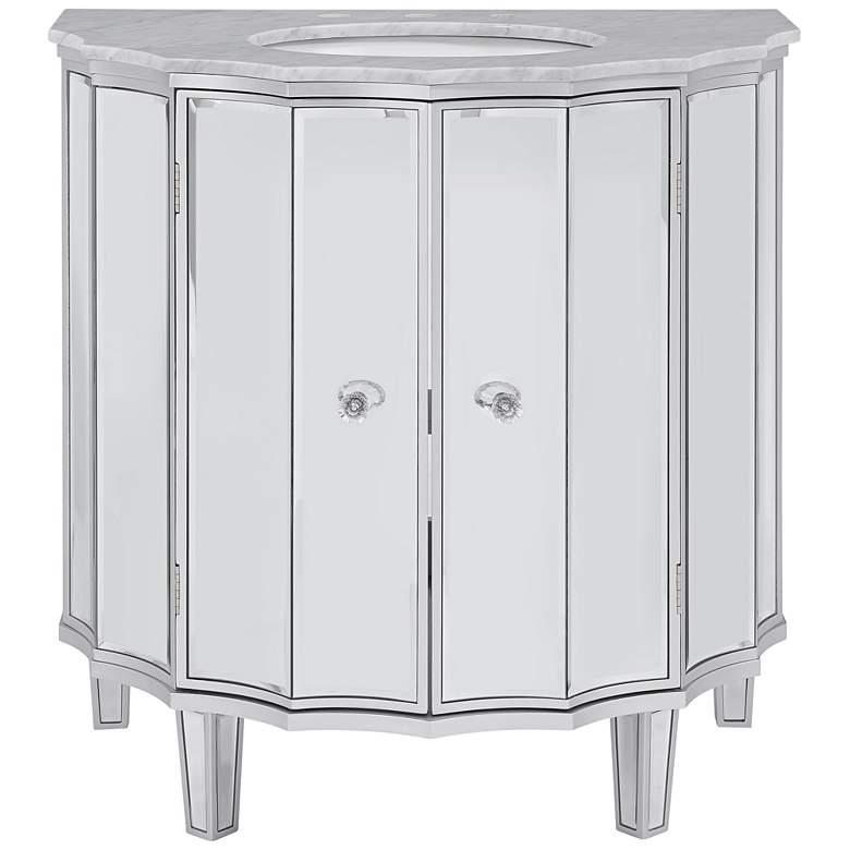 """Hillard 33"""" Wide Mirrored Single Sink Vanity w/ Marble Top"""