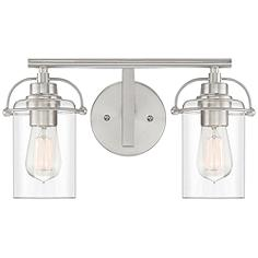 """Quoizel Emerson 8 3/4""""H Brushed Nickel 2-Light Wall Sconce"""