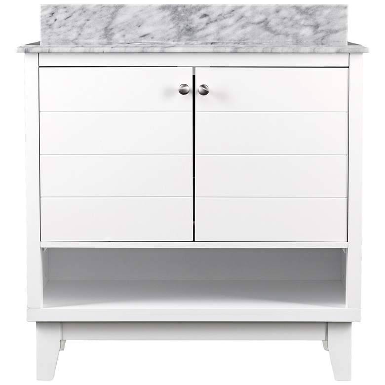"Ridglea 34"" Wide White and Gray Wood Single Sink Vanity"