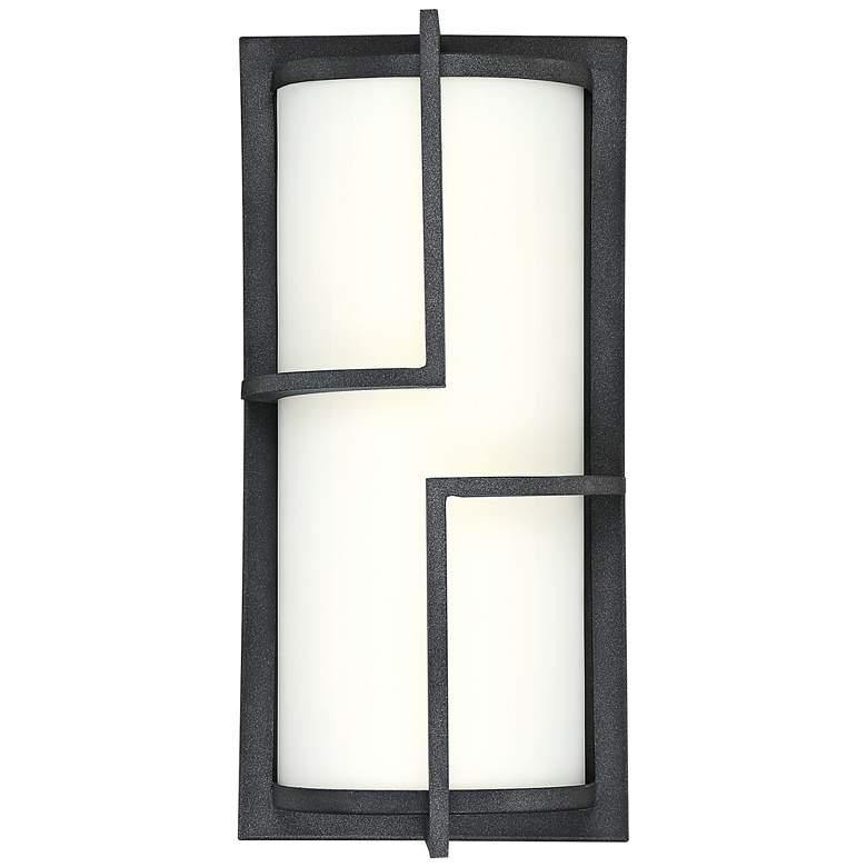"""Quoizel Huger 14"""" High Mottled Black LED Outdoor Wall Light"""