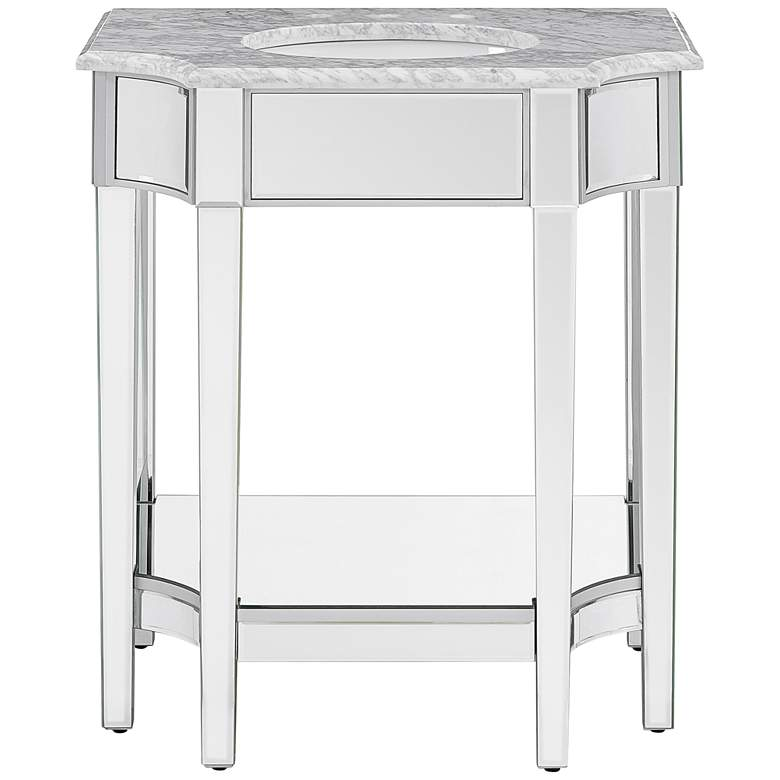 "Emmavale 32"" Wide Mirrored Single Sink Vanity w/ Marble Top"