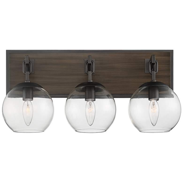"Possini Euro Webly 20""W Wood and Gunmetal 3-Light Bath Light"