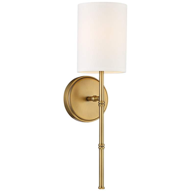 "Abigale 19 1/4""H Brass and White Fabric Shade Wall Sconce"