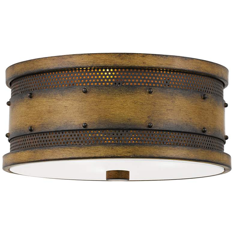 """Quoizel Roadhouse 13"""" Wide Aged Walnut Drum Ceiling Light"""