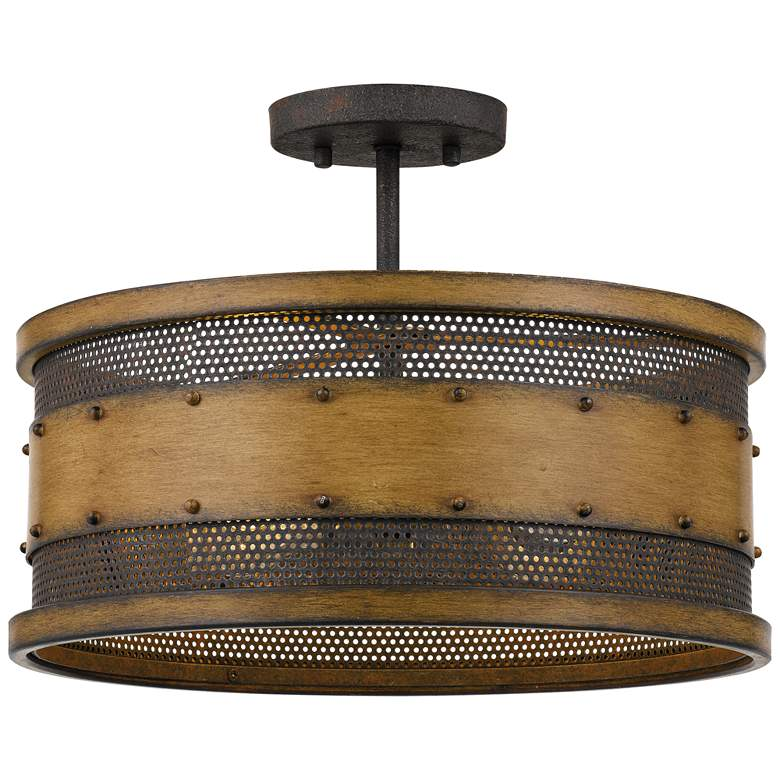 "Quoizel Roadhouse 16"" Wide Aged Walnut Drum Ceiling Light"