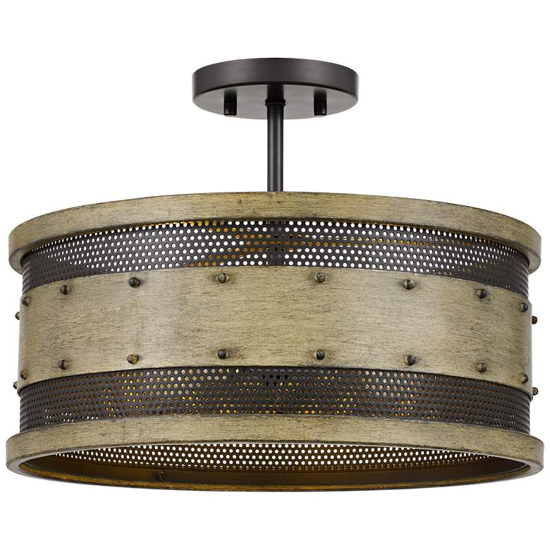 """Quoizel Roadhouse 16"""" Wide Natural Walnut Drum Ceiling Light"""