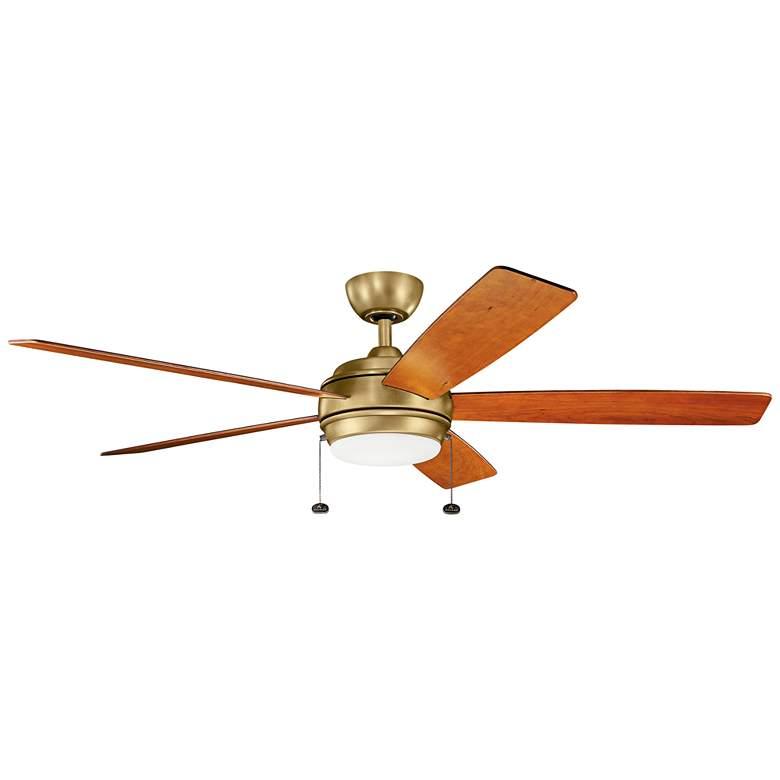 """60"""" Kichler Starkk Natural Brass LED Ceiling Fan"""