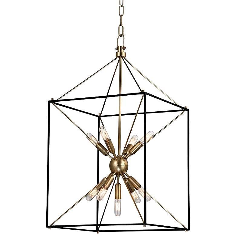 """Hudson Valley Glendale 30"""" High Aged Brass Pendant Light"""