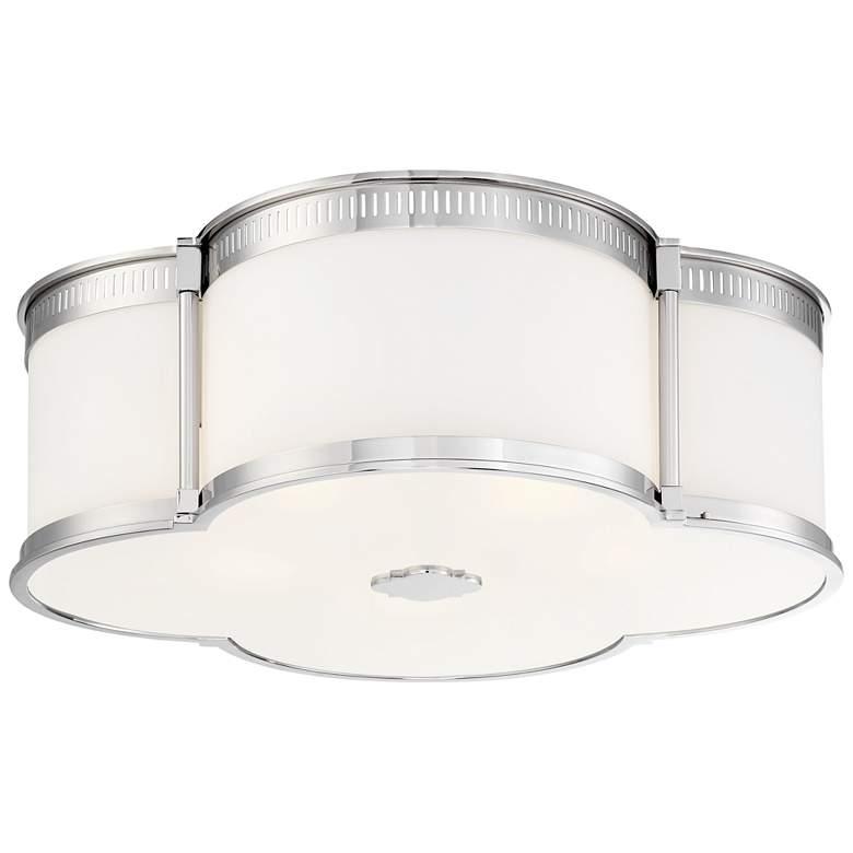 """Flush Mount 22"""" Wide Polished Nickel LED Ceiling Light"""