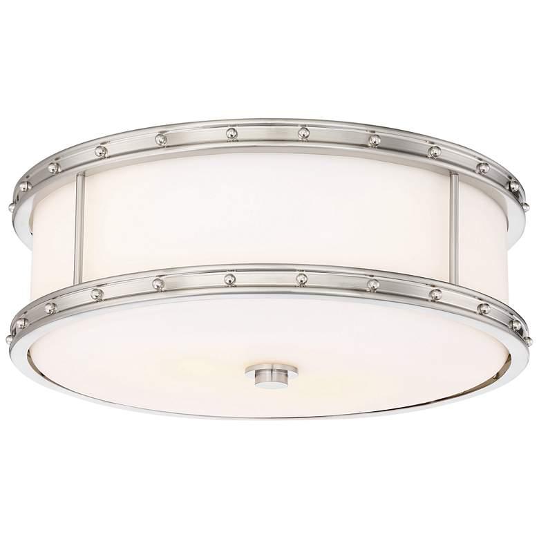 "Flush Mount 15 1/2""W Brushed Nickel Drum LED Ceiling Light"