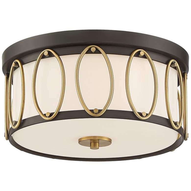 "Possini Euro Bridger 13 1/2""W Bronze and Brass Ceiling Light"