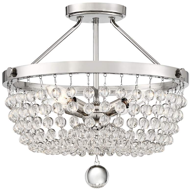 "Quoizel Teresa 16""W Polished Nickel and Glass Ceiling Light"