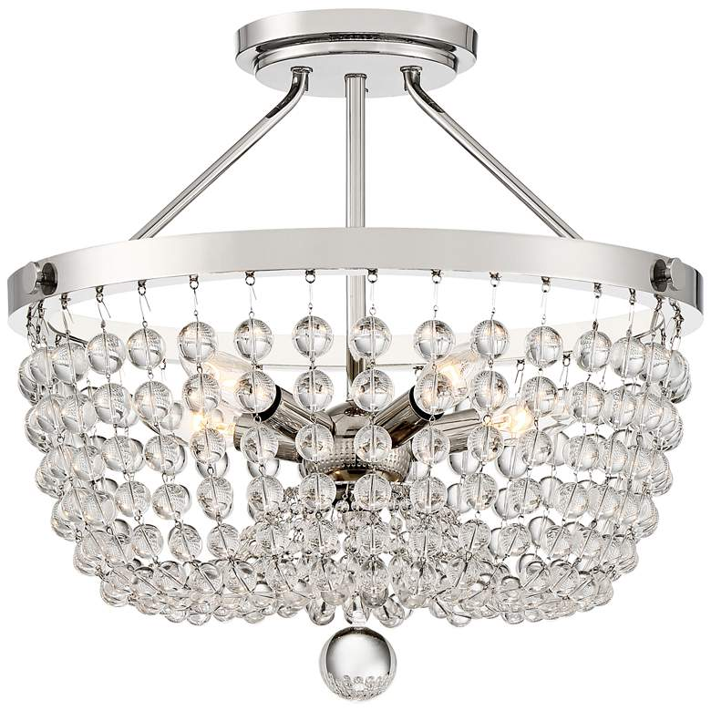 "Quoizel Teresa 18""W Polished Nickel and Glass Ceiling Light"