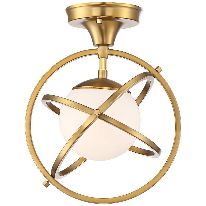 "Possini Euro Altis 10 1/4""W Warm Brass Orb Ceiling Light"