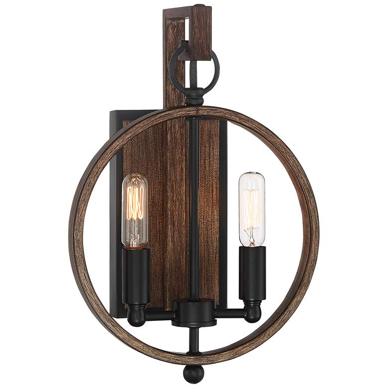 "Possini Euro Giorgia 13""H Black and Wood Wall Sconce"