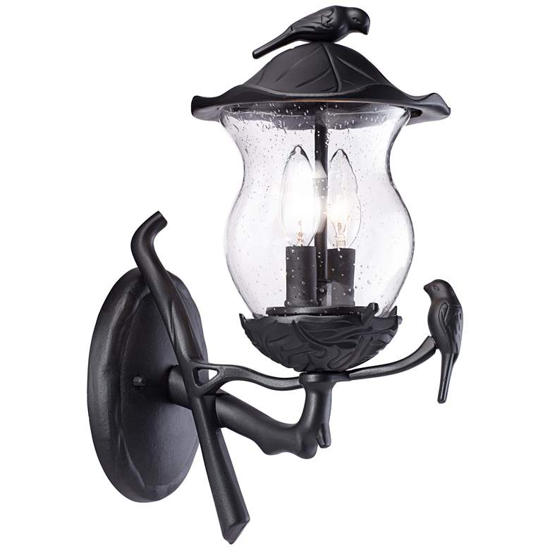 "Birdie 16"" High Black Seedy Glass Outdoor Wall Light"