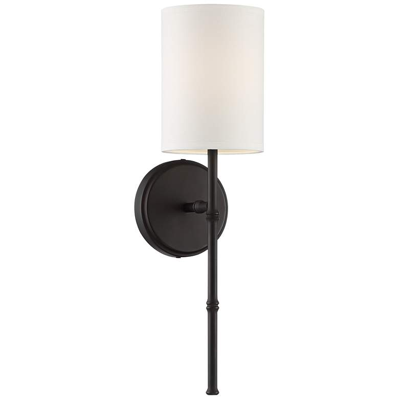 """Abigale 19 1/4""""H Bronze and White Fabric Shade Wall Sconce"""