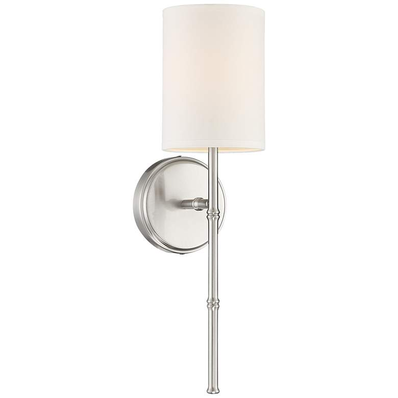 """Abigale 19 1/4""""H Nickel and White Fabric Shade"""