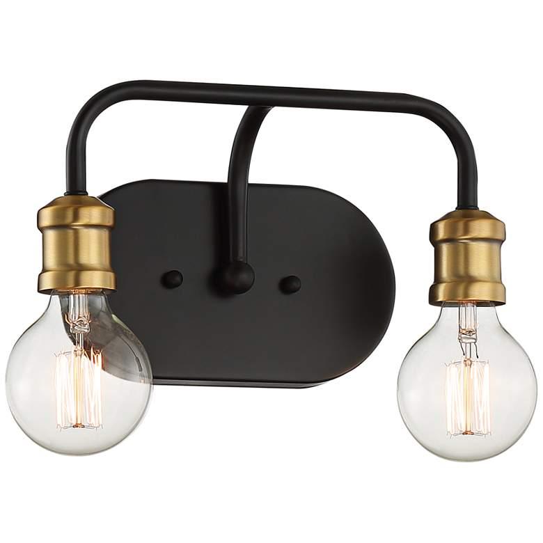 "Possini Euro Aras 10 3/4""W Black and Brass Bath Light"