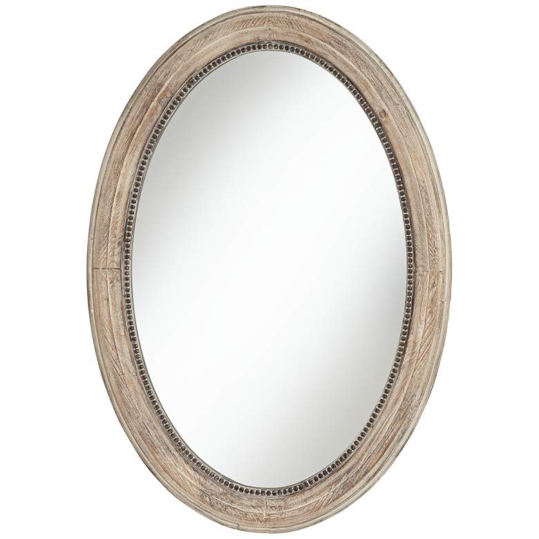 "Zahra 23 1/2"" Wide Wooden Oval Wall Mirror"