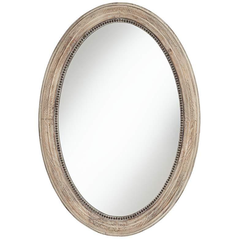 "Zahra Wooden 23 1/2"" x 34"" Oval Wall Mirror"