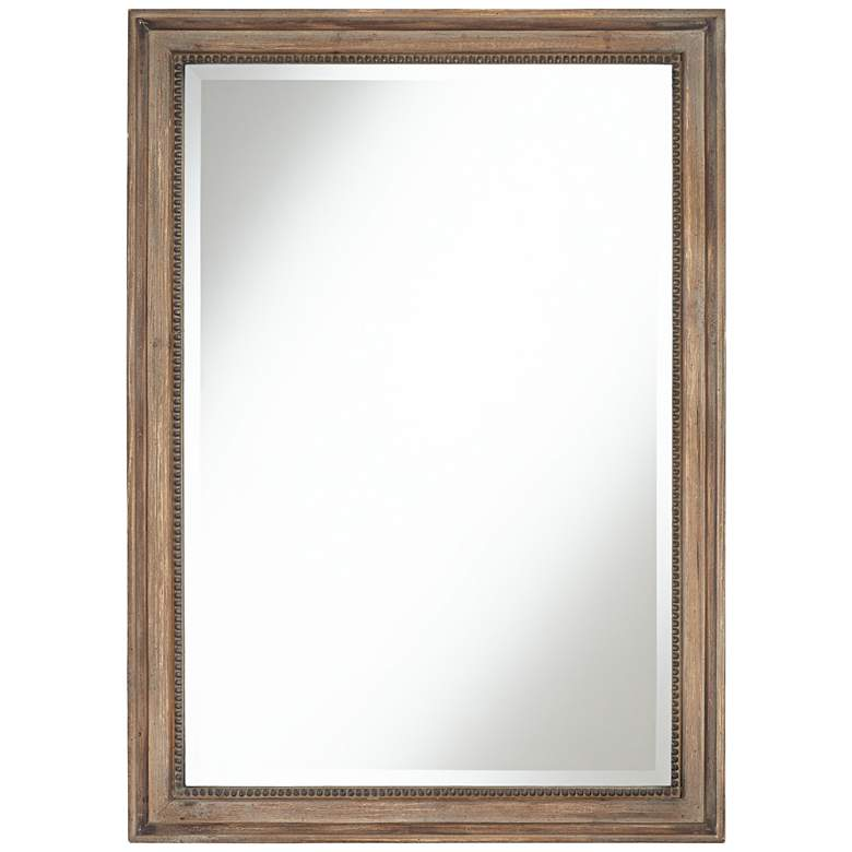 "Lesley 26 3/4"" Wide Beaded Wood Rectangular Wall Mirror"