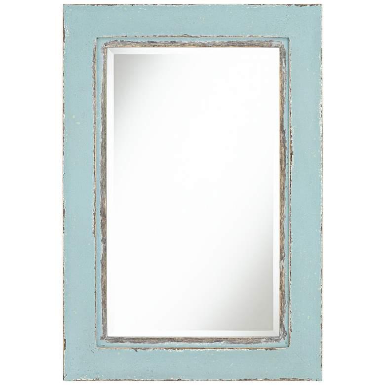 """Tonya 26"""" x 37 1/2"""" Distressed Blue Wall Mirror"""
