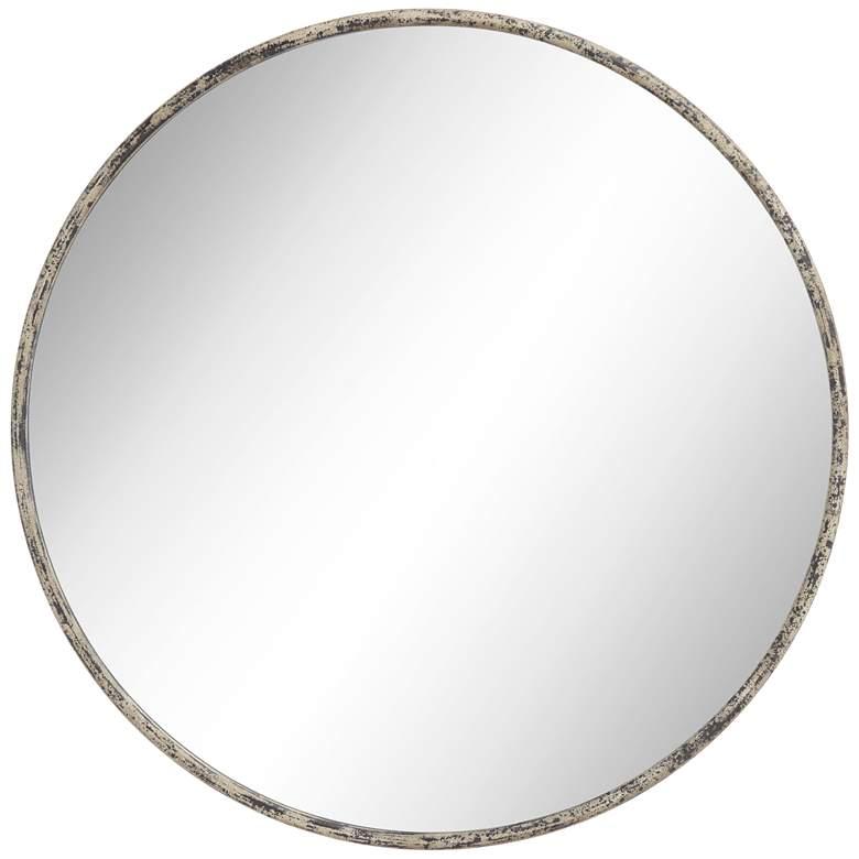 """Caden 35 1/2"""" Round Distressed Black Wall Mirror"""