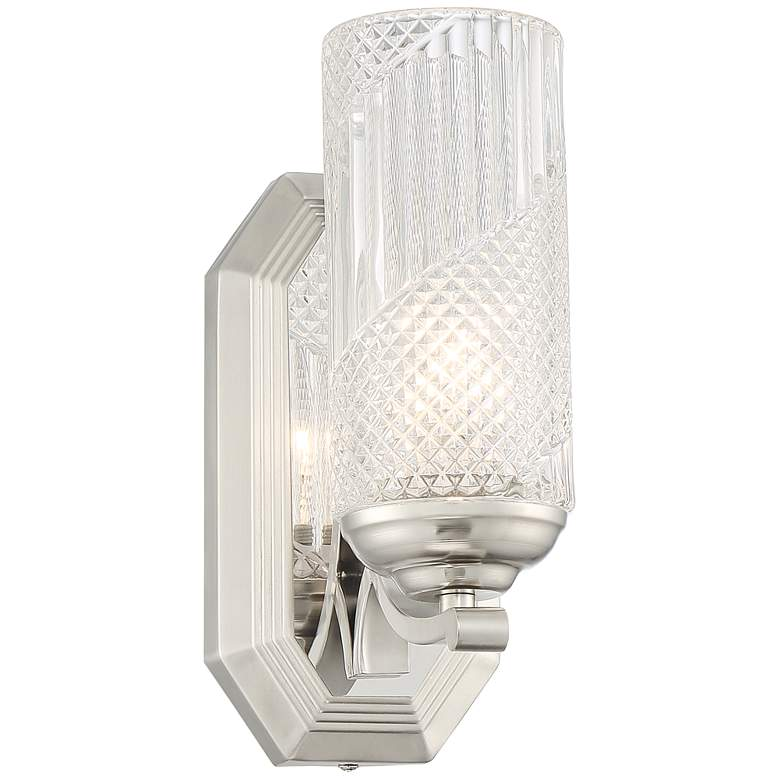 """Possini Euro Lewie 10 1/2""""H Glass and Nickel Wall Sconce"""