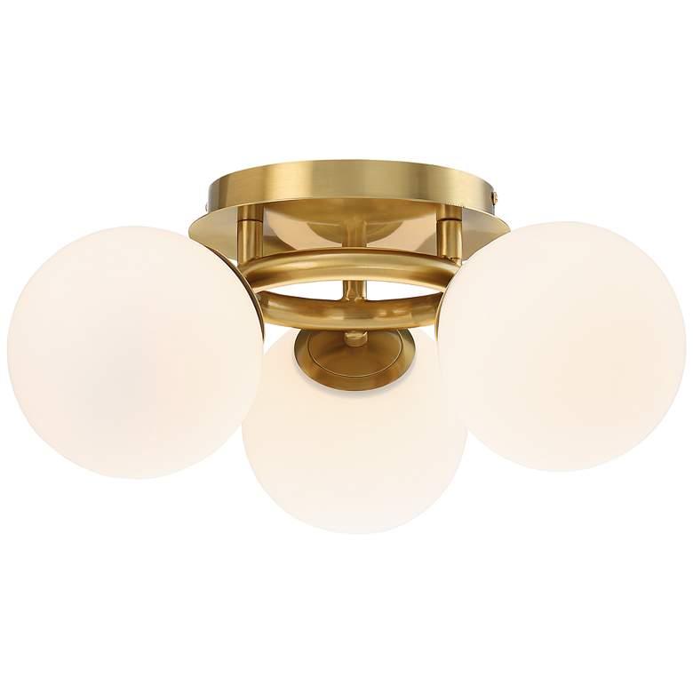"""Possini Euro Jevan 18""""W Brass Globe 3-Light Ceiling Light"""