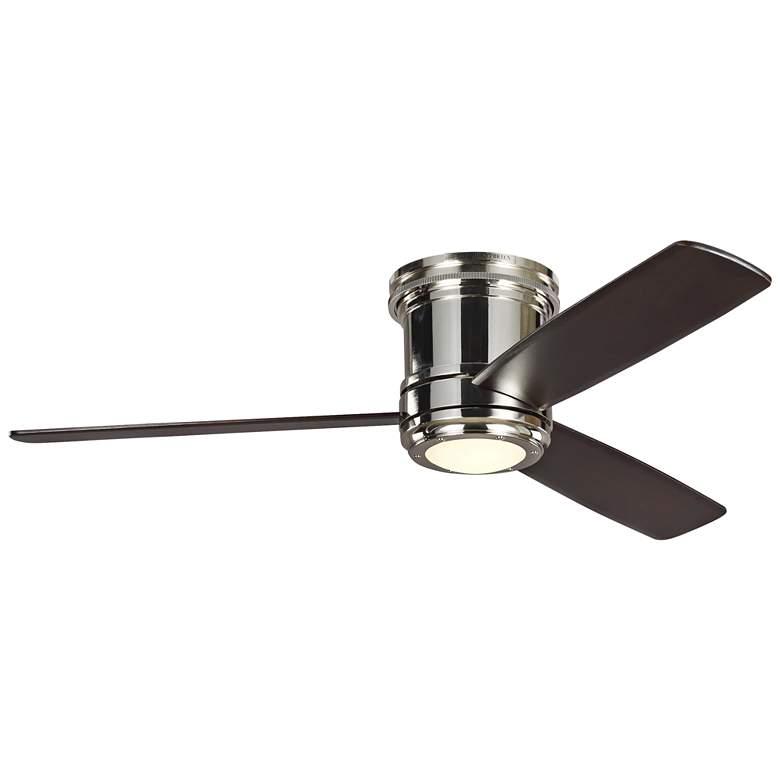 "56"" Aerotour Polished Nickel Mahogany LED Hugger Ceiling Fan"