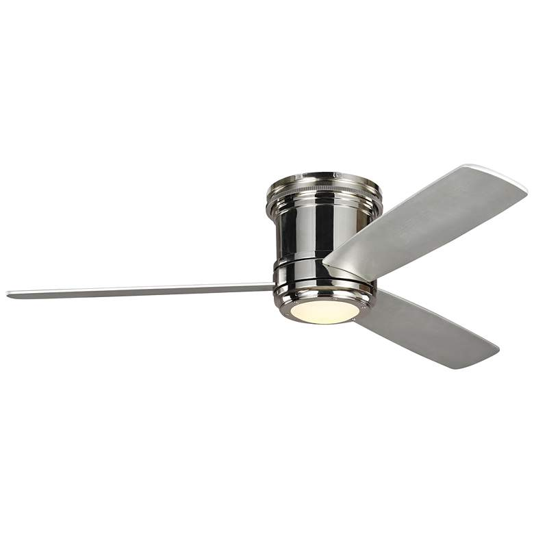 """56"""" Aerotour Polished Nickel and Gray LED Hugger Ceiling Fan"""