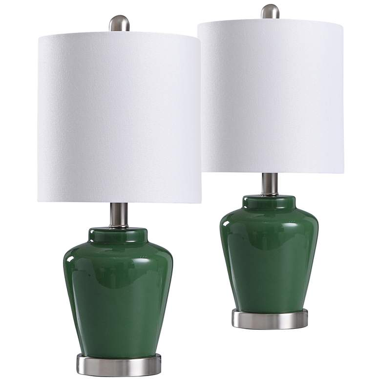 """Green Glass 18 1/2"""" High Accent Table Lamps"""