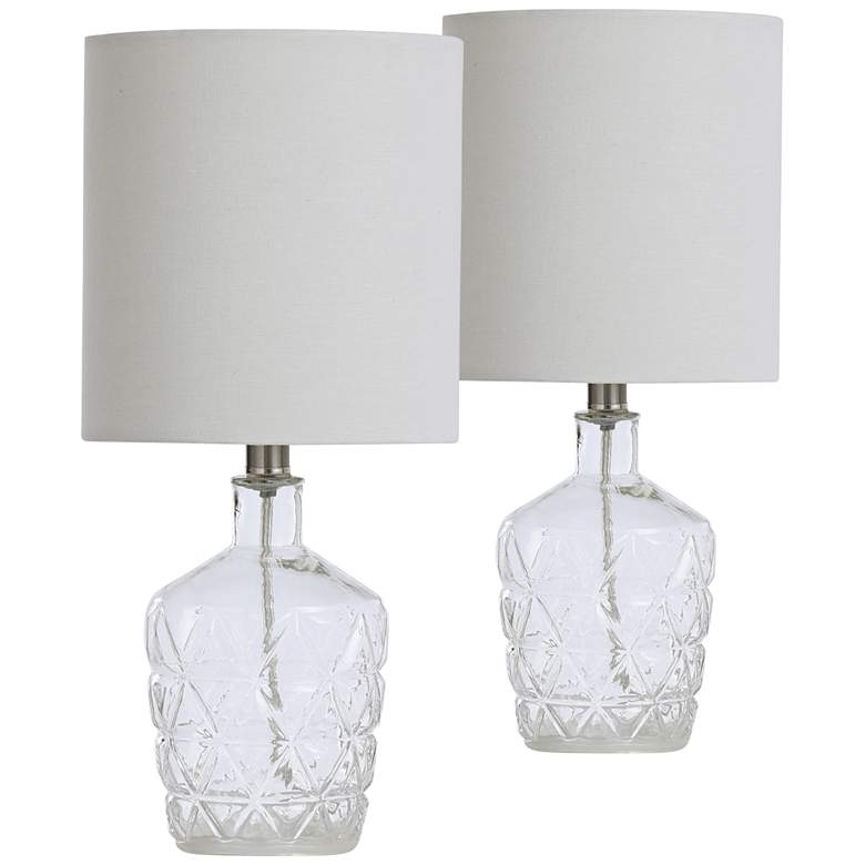 "Clear Water Textured Glass 18""H Accent Table Lamps"