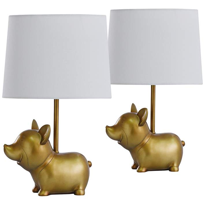 Cute Puppy Dog 18 High Gold Accent Table Lamps Set Of 2