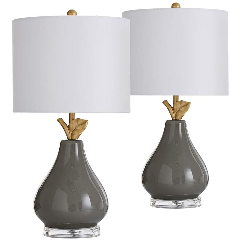 """Pear Gray and Gold 18"""" High Accent Table"""