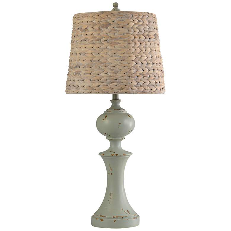 Basilica Sky Table Lamp with Natural Woven Seagrass Shade