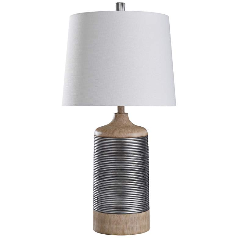 Haverhill Light Tan Wood and Silver Cylindrical Table Lamp