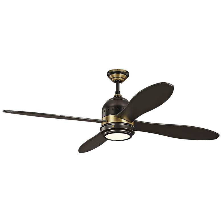 """56"""" Metrograph Bronze and Antique Brass LED Ceiling Fan"""