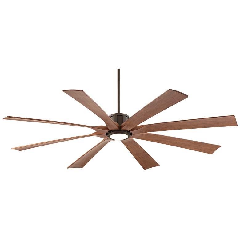 "70"" Possini Euro Defender Bronze Koa Blade LED Ceiling Fan"