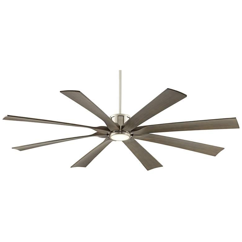 "70"" Defender Brushed Nickel and Light Wood LED Ceiling Fan"