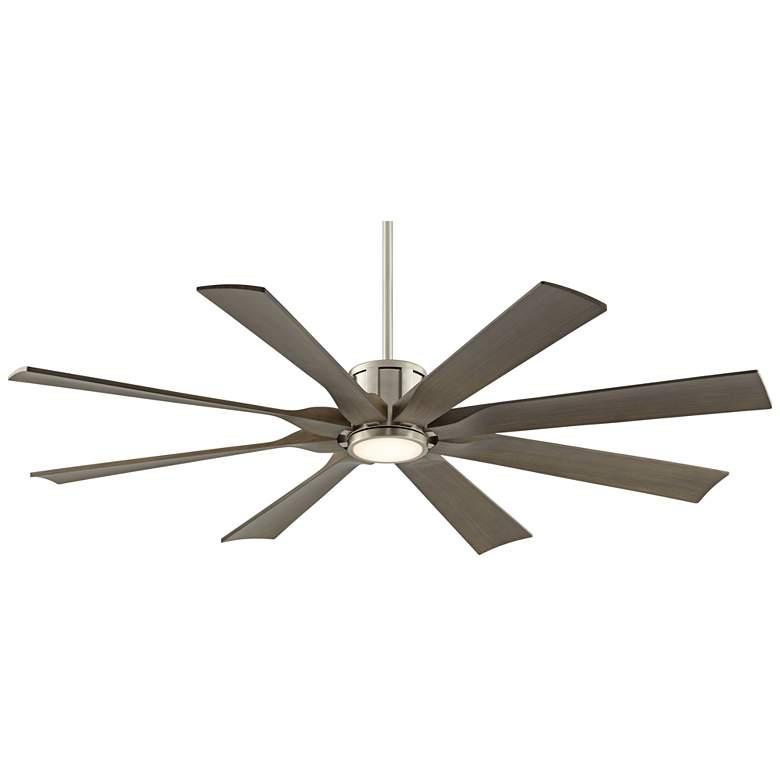 """60"""" Possini Defender Brushed Nickel Damp LED Ceiling Fan"""