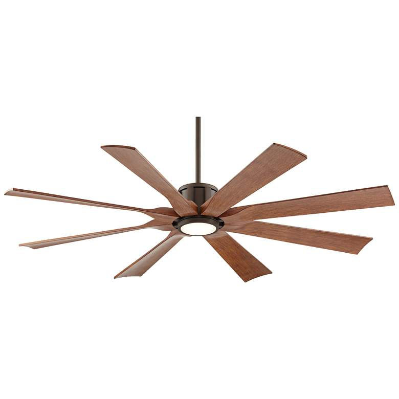 "60"" Possini Euro Defender Bronze Koa Blade LED Ceiling Fan"